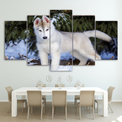 Limited Edition 5 Piece White Baby Wolf Canvas