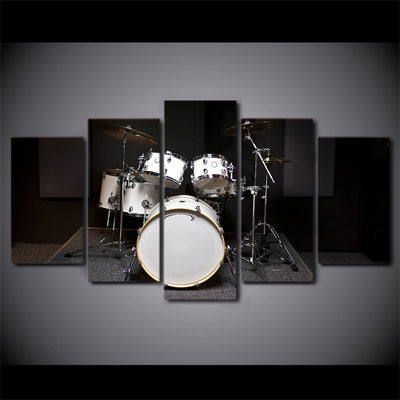Limited Edition 5 Piece White Drum Set Canvas