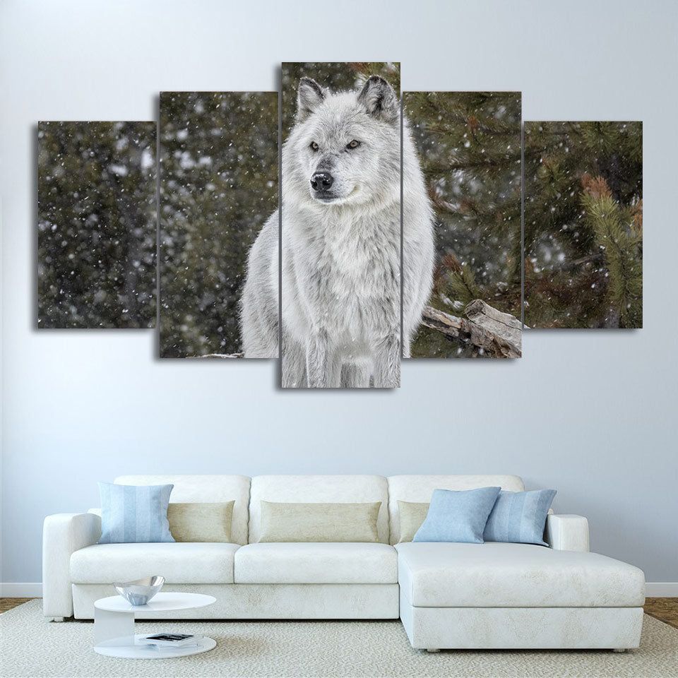 Limited Edition 5 Piece White Wolf In Winter Canvas