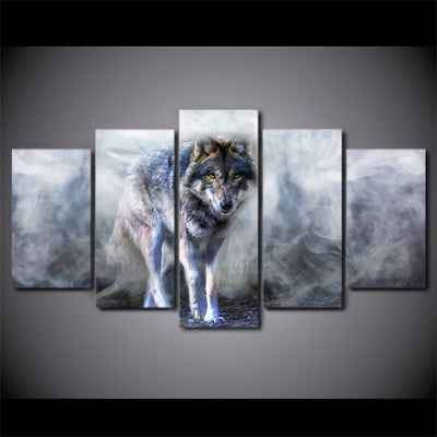 Limited Edition 5 Piece Wolf Covered By Smoke  Canvas