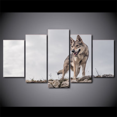 Limited Edition 5 Piece Wild Wolf At the Top Canvas