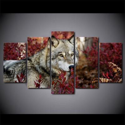 Limited Edition 5 Piece Wolf In Flower Forest Canvas