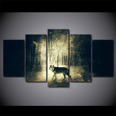 Limited Edition 5 Piece Wolf In A Forest In Black And White Canvas