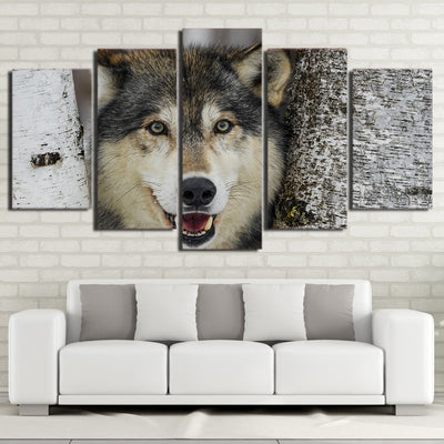 Limited Edition 5 Piece Wolf In a Tree  Canvas