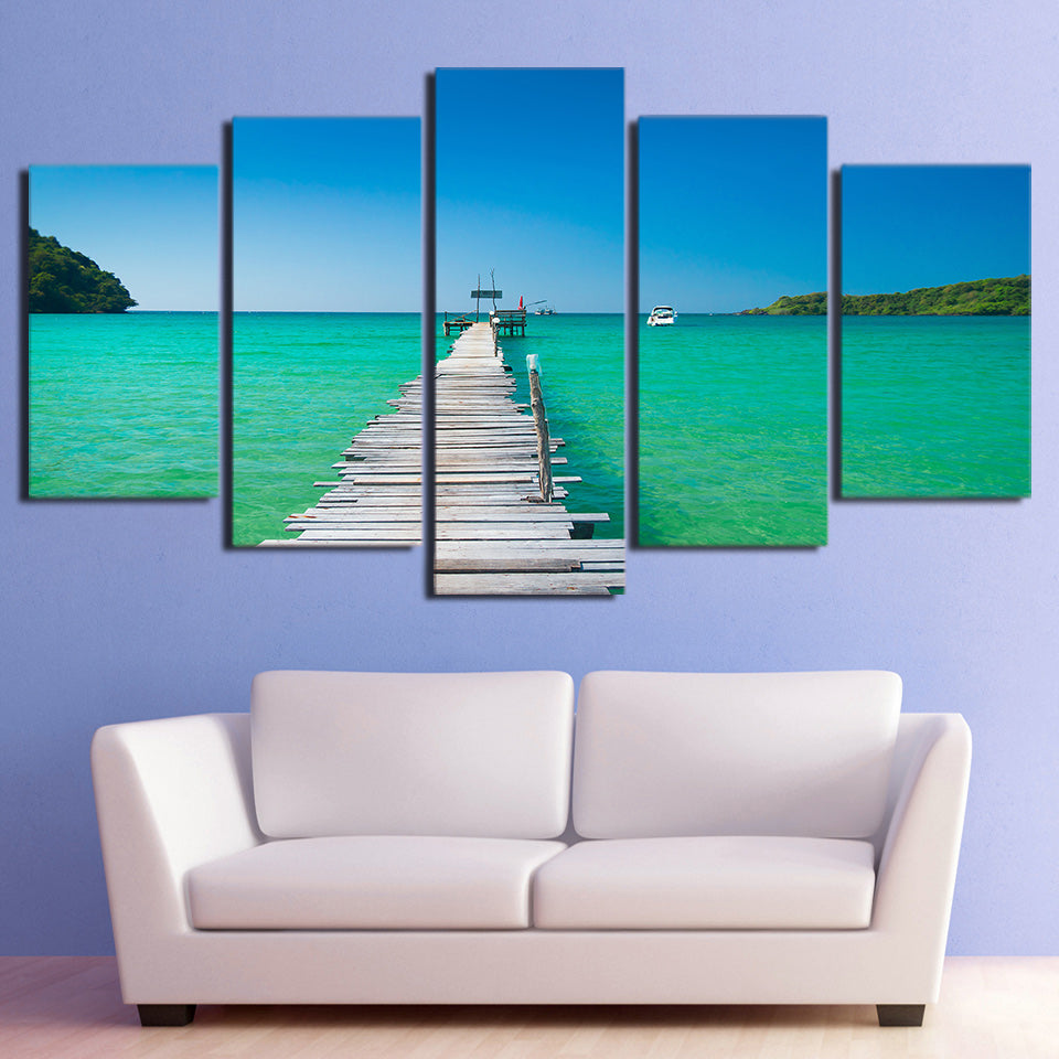 Limited Edition 5 Piece Wooden Bridge On A Beach Canvas