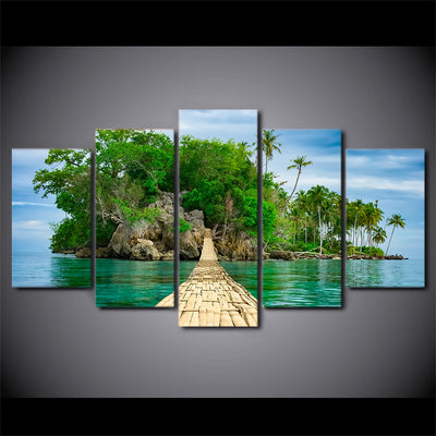Limited Edition 5 Piece Hanging Bridge To An Island Beach Canvas