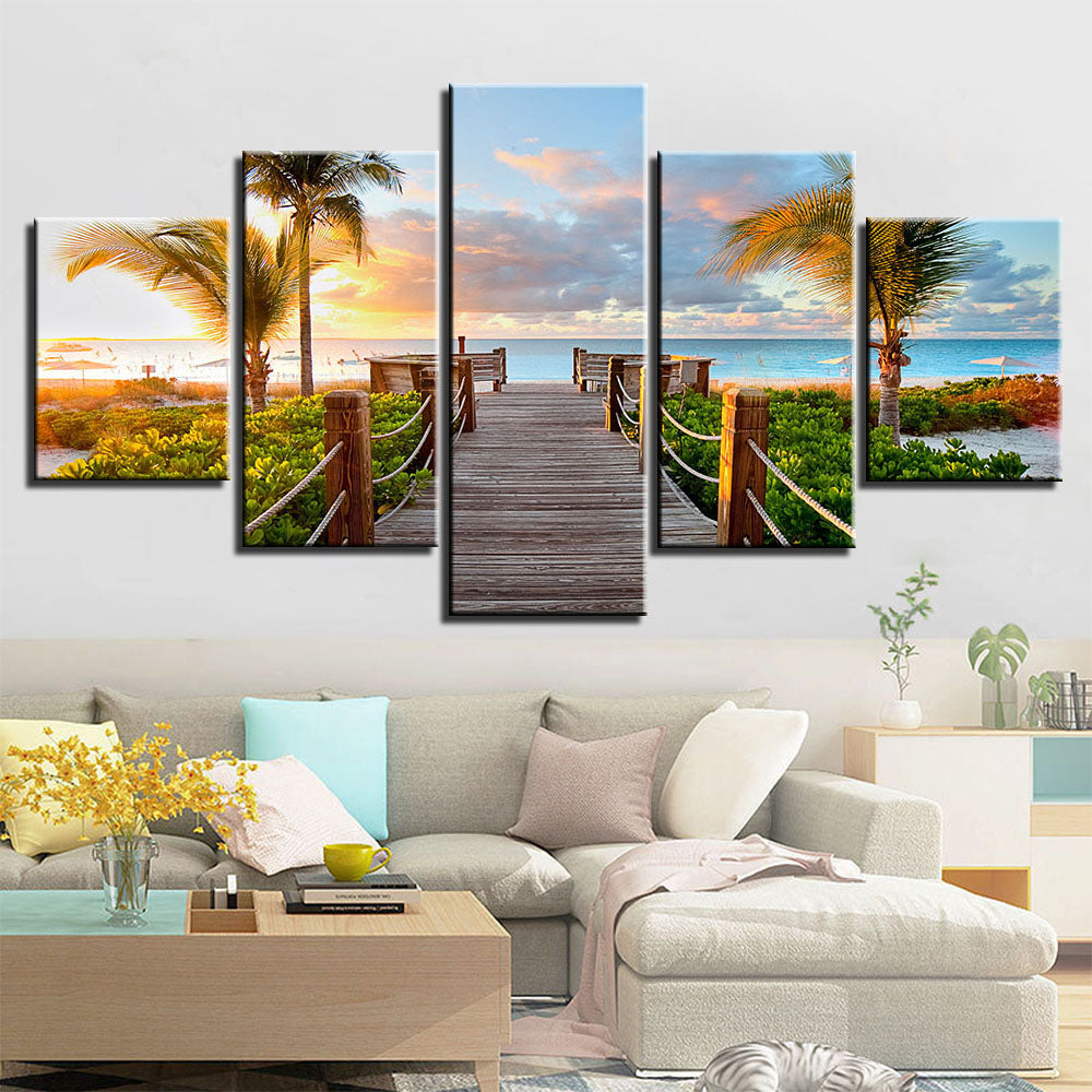 Limited Edition 5 Piece Paradise Boardwalk Canvas