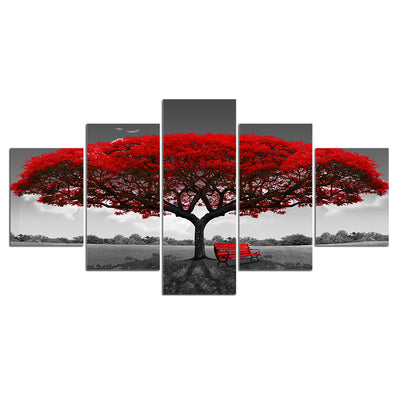 Limited Edition 5 Piece Red Tree Canvas
