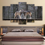Limited Edition 5 Piece Couple Brown Wolf Canvas