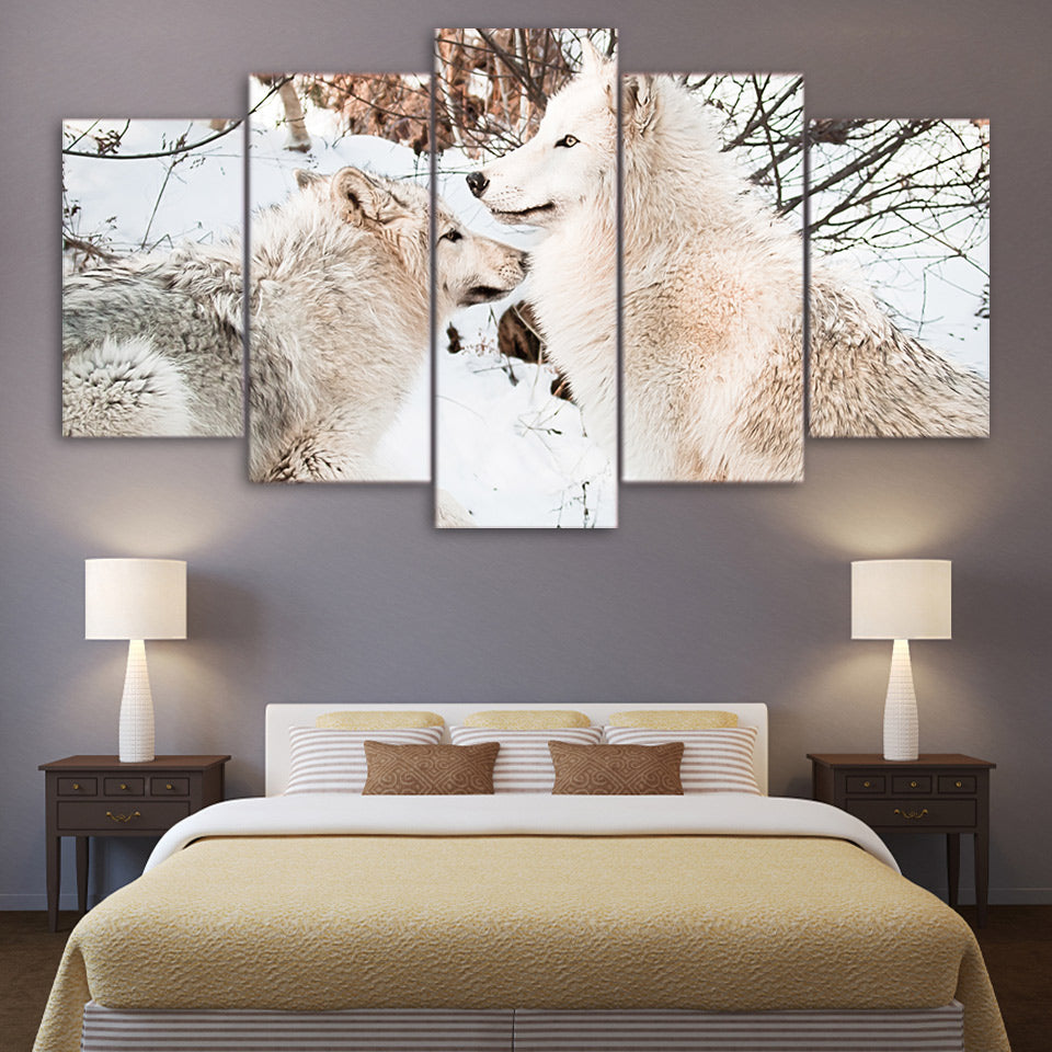 Limited Edition 5 Piece Attentive White Snow Wolf Canvas