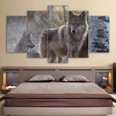 Limited Edition 5 Piece Fearless Brown Wolf Canvas