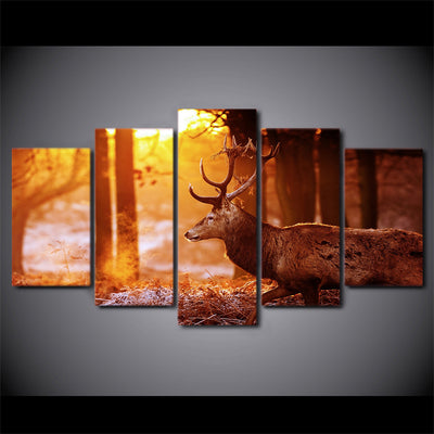 Limited Edition 5 Piece Deer in Sunset Canvas
