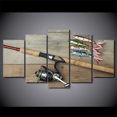 Limited Edition 5 Piece Artistic Fishing Hooks And A Rod Canvas