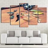 Limited Edition 5 Piece Creative Fishing Hooks and a Fishing Reel Canvas