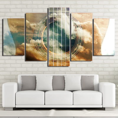Limited Edition 5 Piece Amazing Guitar Covered With Clouds Canvas