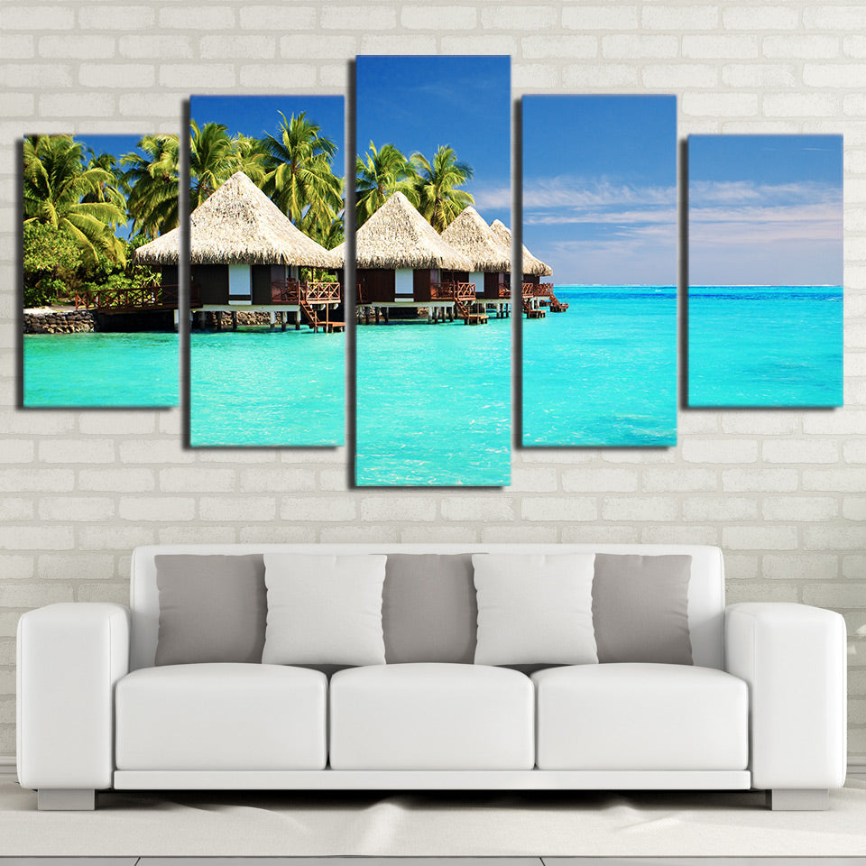 Limited Edition 5 Piece  Beautiful Cottages In A Beach Canvas