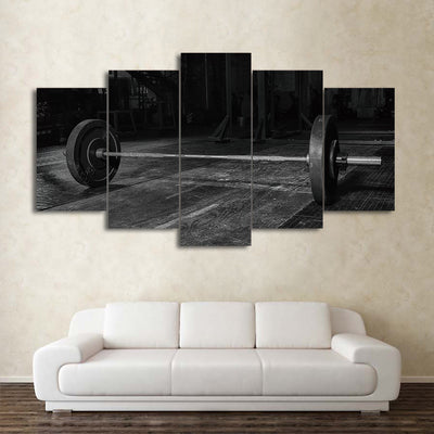 Limited Edition 5 Piece Black And White Weightlifting Canvas