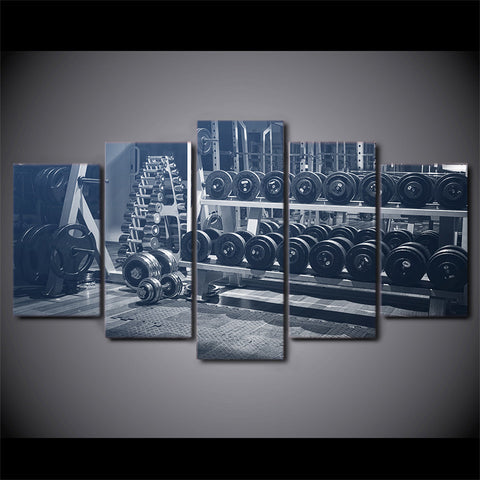 Limited Edition 5 Piece Black And White GYM Dumbells Canvas
