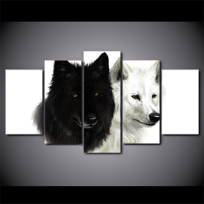 Limited Edition 5 Piece Black And White Wolf  Canvas