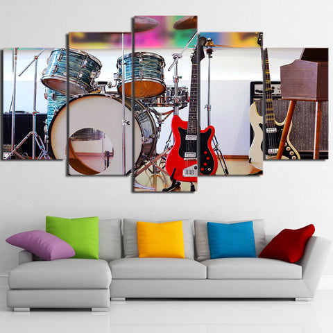Limited Edition 5 Piece Drum Set And Musical Instruments Canvas