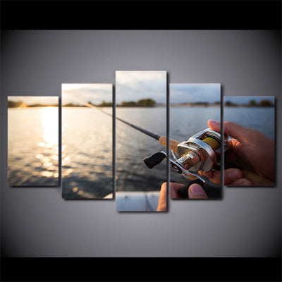 Limited Edition 5 Piece Fishing In The Lake Sunset Canvas