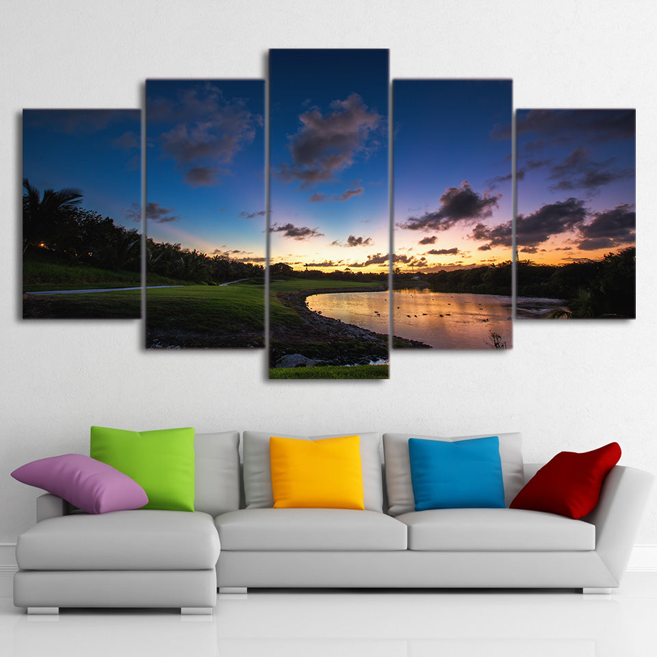 Limited Edition 5 Piece Golf Course By The River Over Sunset Canvas