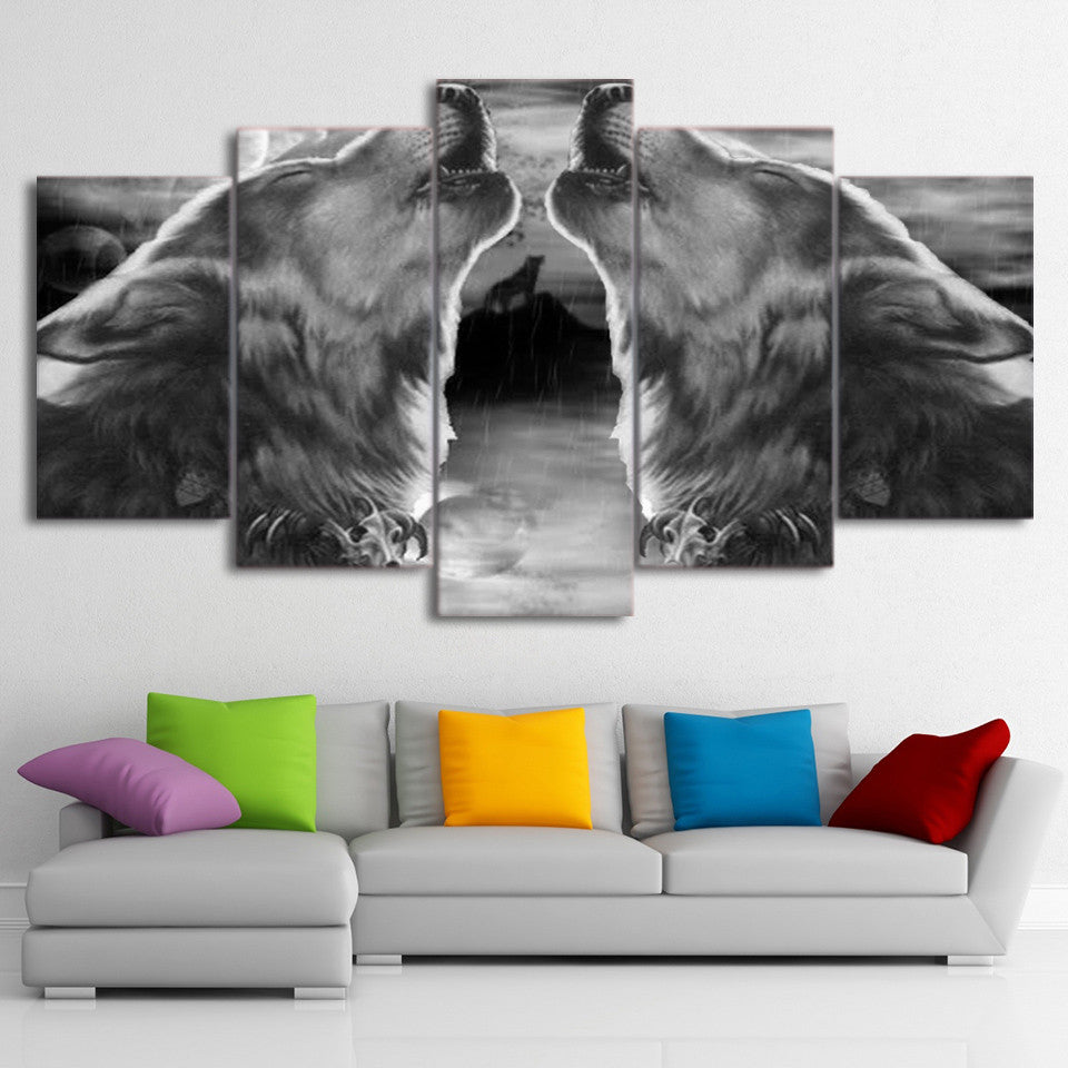 Limited Edition 5 Piece Howling Wolf Canvas