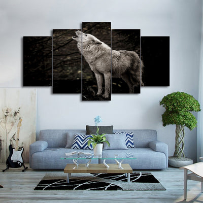 Limited Edition 5 Piece White Howling Wolf  Canvas