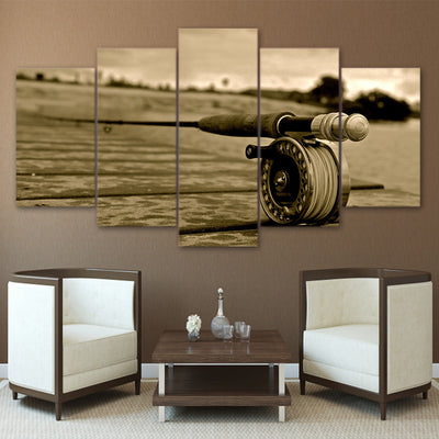 Limited Edition 5 Piece Vintage Fishing Rod Canvas