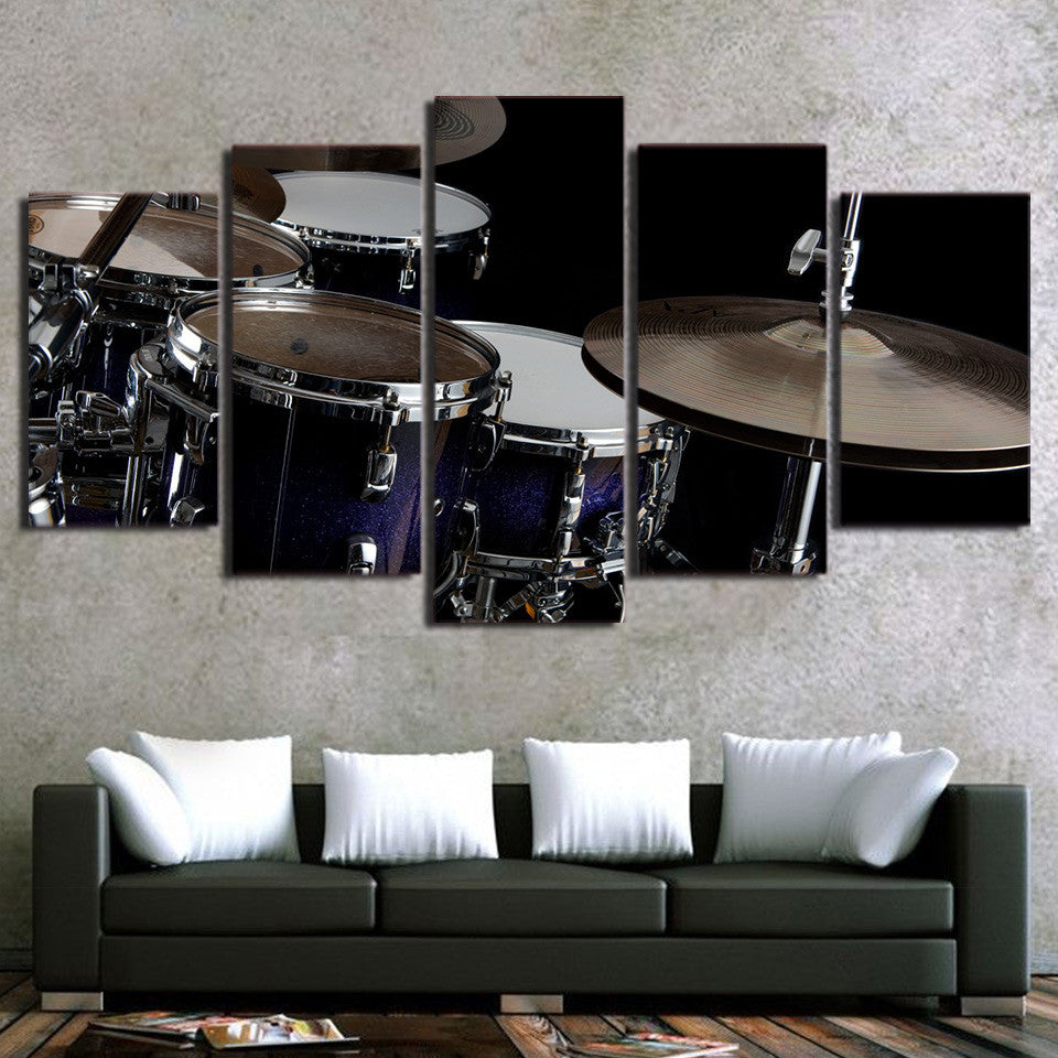 Limited Edition 5 Piece Modern Drum Canvas (FRAMED)