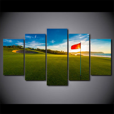 Limited Edition 5 Piece Red Flag In Golf Course  Canvas