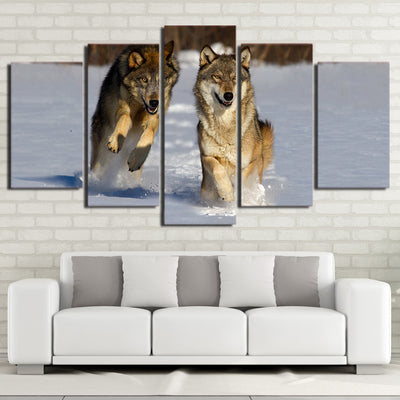 Limited Edition 5 Piece Running Wolves Canvas