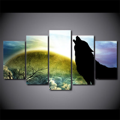 Limited Edition 5 Piece Silhouette Of A Howling Wolf Canvas