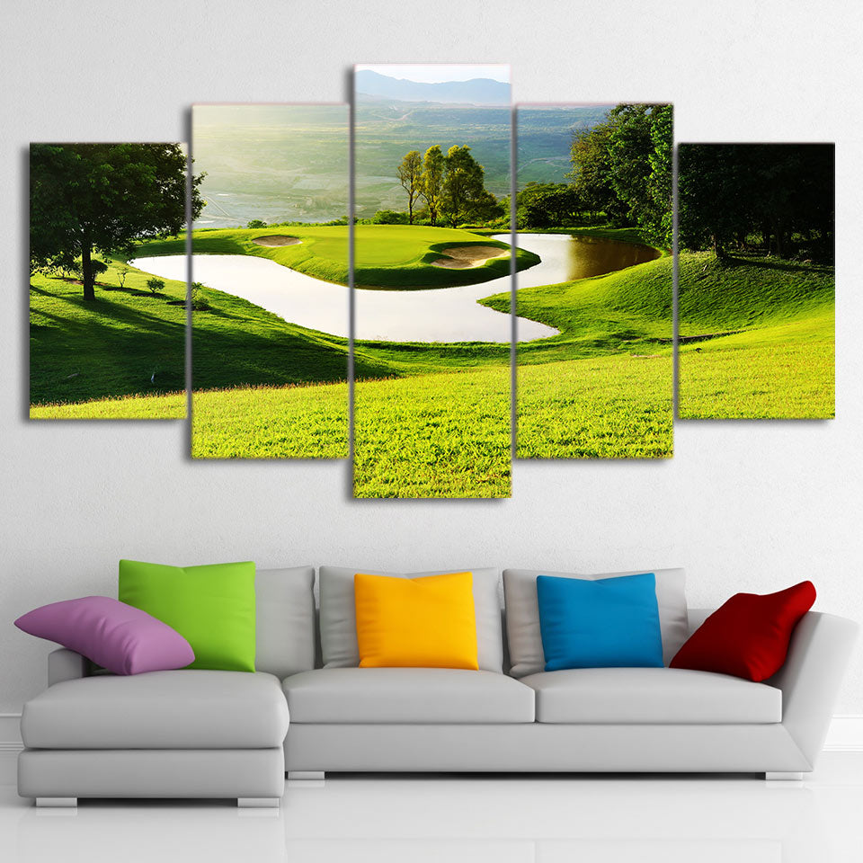Limited Edition 5 Piece Sunrise Golf Course Canvas