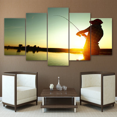 Limited Edition 5 Piece Sunset Fishing Canvas
