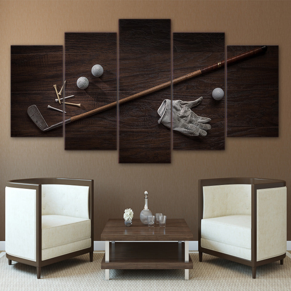 Vintage Golf Tools Ball and Club 5 Pcs Canvas Wall Art Print Picture ...
