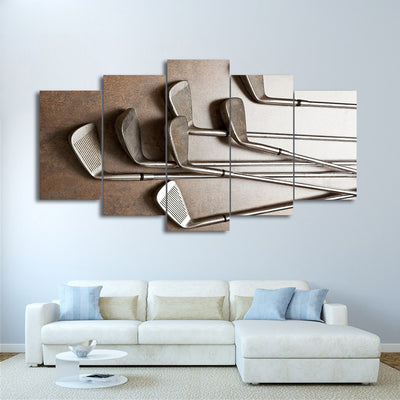 Limited Edition 5 Piece Vintage Golf Clubs Canvas