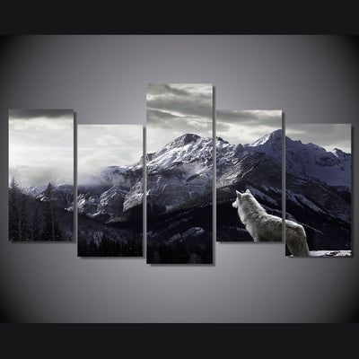 Limited Edition White Wolf In Snowy Mountain Canvas