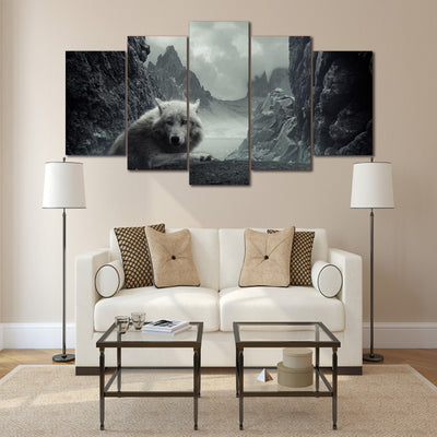 Limited Edition 5 Piece White Wolf In The Mountain Canvas