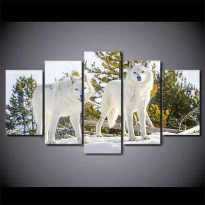 Limited Edition 5 Piece White Wolves In The Forest Canvas