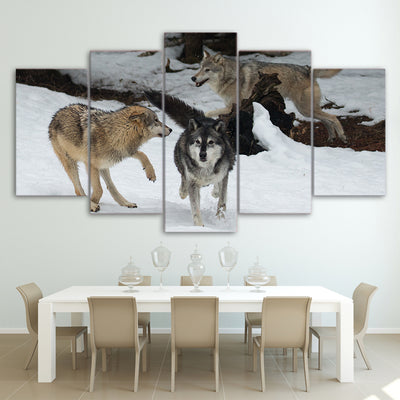 Limited Edition 5 Piece Wolf Playing In The Snow Canvas