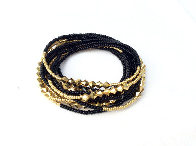 Beaded Bracelet Black and gold