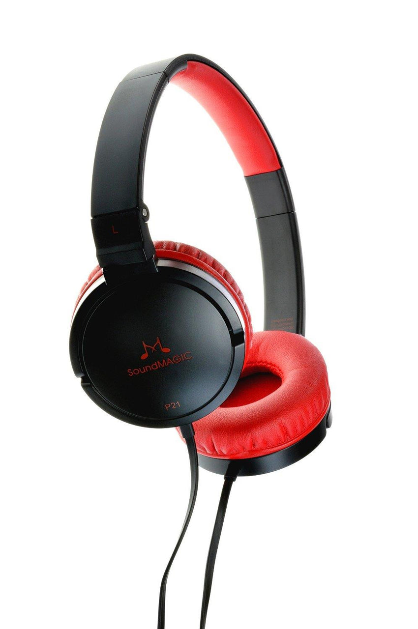 SoundMAGIC P21 On-Ear Headphones (Black/Red)