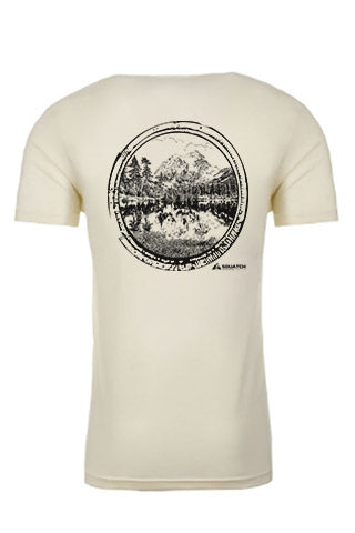 MT BAKER Natural Tee. Original Black on Natural Tee. Original Mt Baker design made from original photograph on one of our epic hikes.