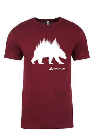 GRIZZLY Tee. Series One Original White on Maroon Tee. Product Description •Artwork by Dalton Lovitt, SQUATCH Industries Design  •Screen Printed Graphic Tee •Premium Next Level Short-Sleeve Crew (Maroon) •100% Combed Cotton Jersey •Available in Small - XXL