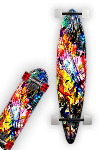 Skate Board Wrap from  Origional water color art print.