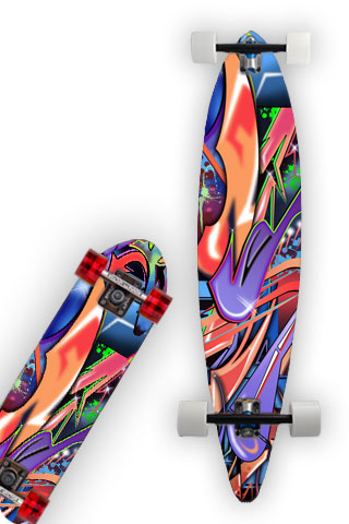 GRAFFITI WORLD.  This wrap is a multi level abstract digital painting. Colors and shapes seen around any major city. It represents an attitude perfect for skateboarders.