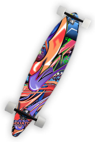 GRAFFITI WORLD Longboard Wrap.  This wrap is a multi level abstract digital painting. Colors and shapes seen around any major city. It represents an attitude perfect for skateboarders.