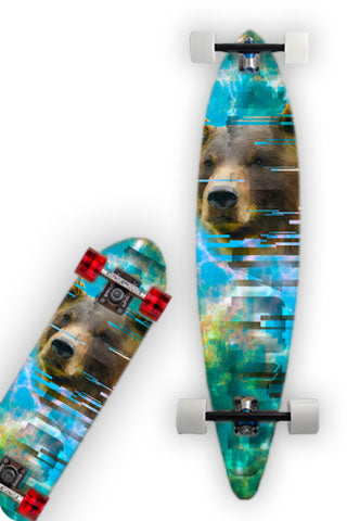 GRIZZLY Skateboard Wrap and Longboard Wrap are original graphic print.  Photos and graphics wilderness SQUATCH design.