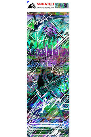 INDUCED STATE.  Skateboard wrap and Longboard wrap is a multi level abstract digital painting. It represents how the mind can work.  Maybe how it's working when you're heading down the hill.